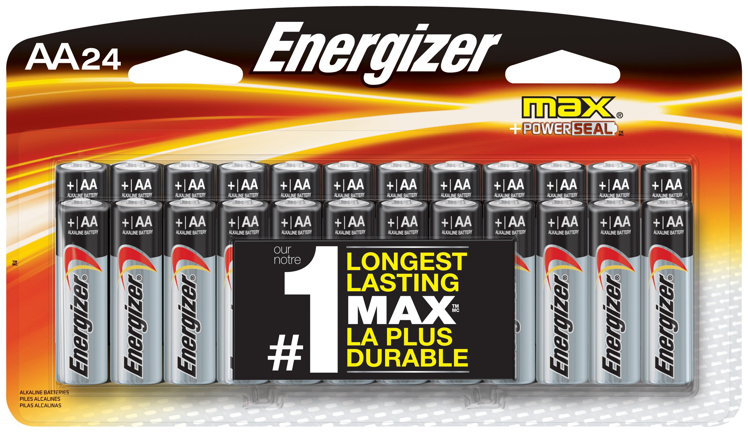 Energizer AA Batteries, Double A Battery Max Alkaline E91BP-24