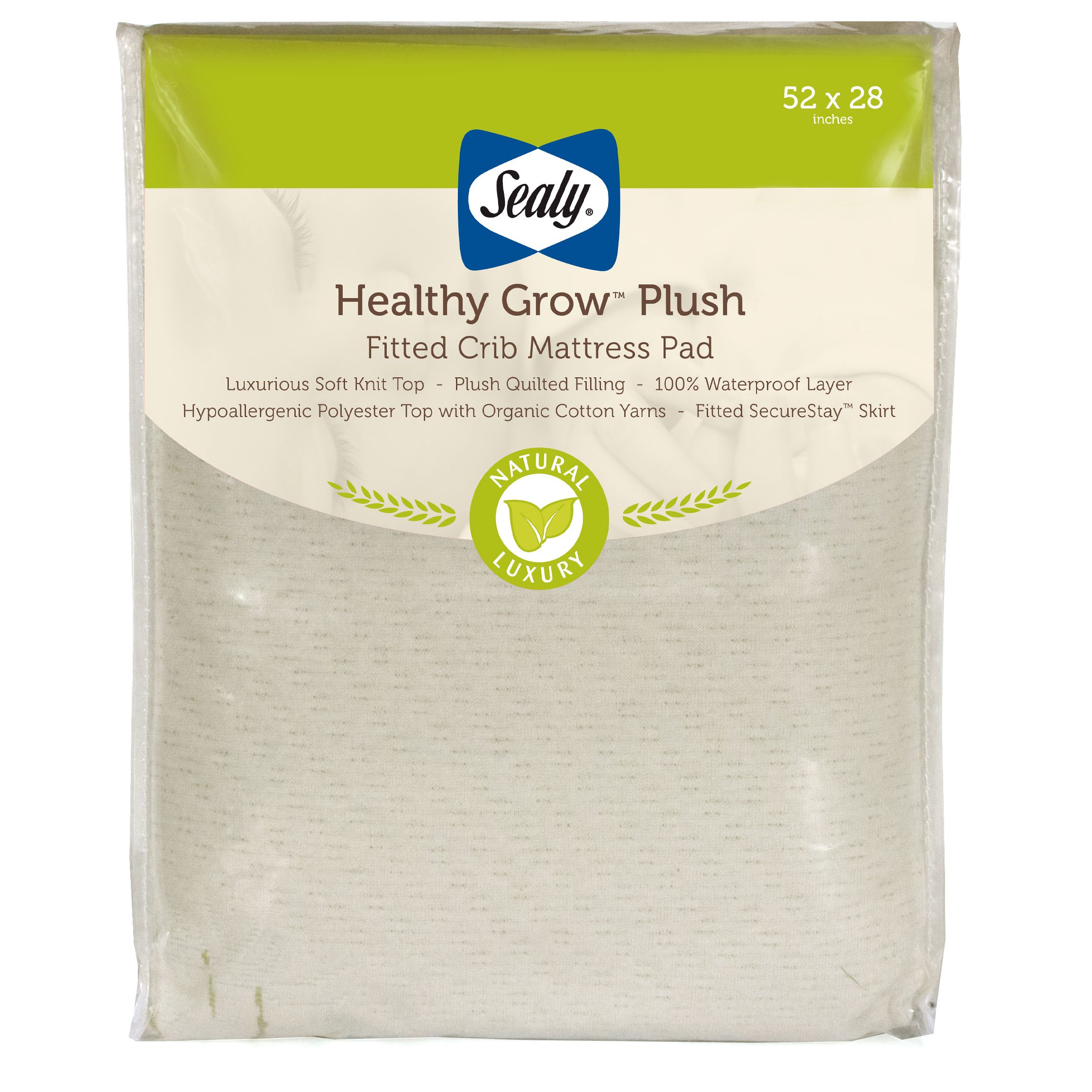 """Sealy Healthy Grow Plush Infant/Toddler Fitted Crib Mattress Pad -Waterproof, Hypoallergenic, Deep Fitted Skirt, Machine Washable & Dryer Friendly 52""""x28"""""""