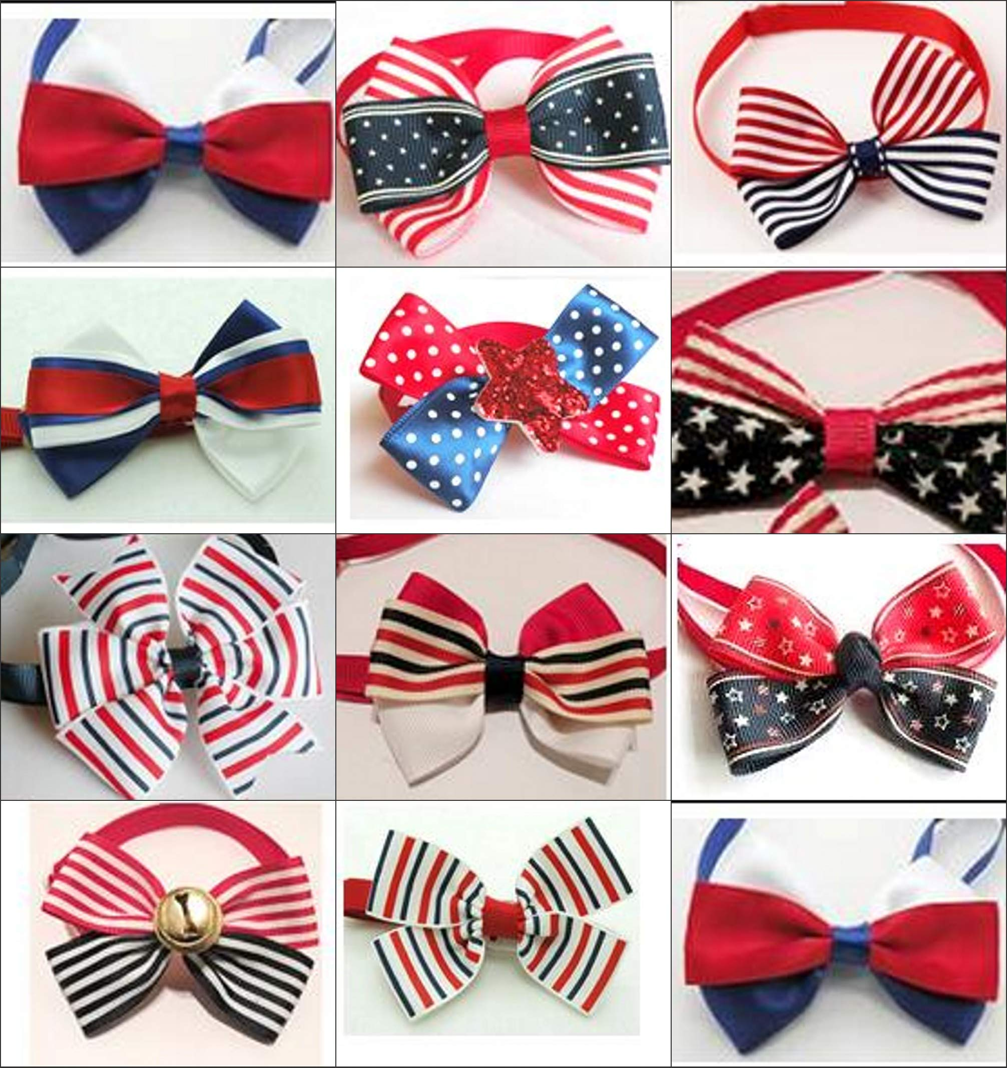 PET SHOW 150pcs Handmade Small Dogs Cats Patriotic Bow Ties 10 Styles Assorted Bowties Pet Grooming Accessories by PET SHOW