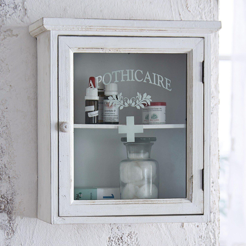 36//32 // 18 cm Verre Loberon Armoire /à Pharmacie Camron Sapin H//L//P env Blanc Vieilli