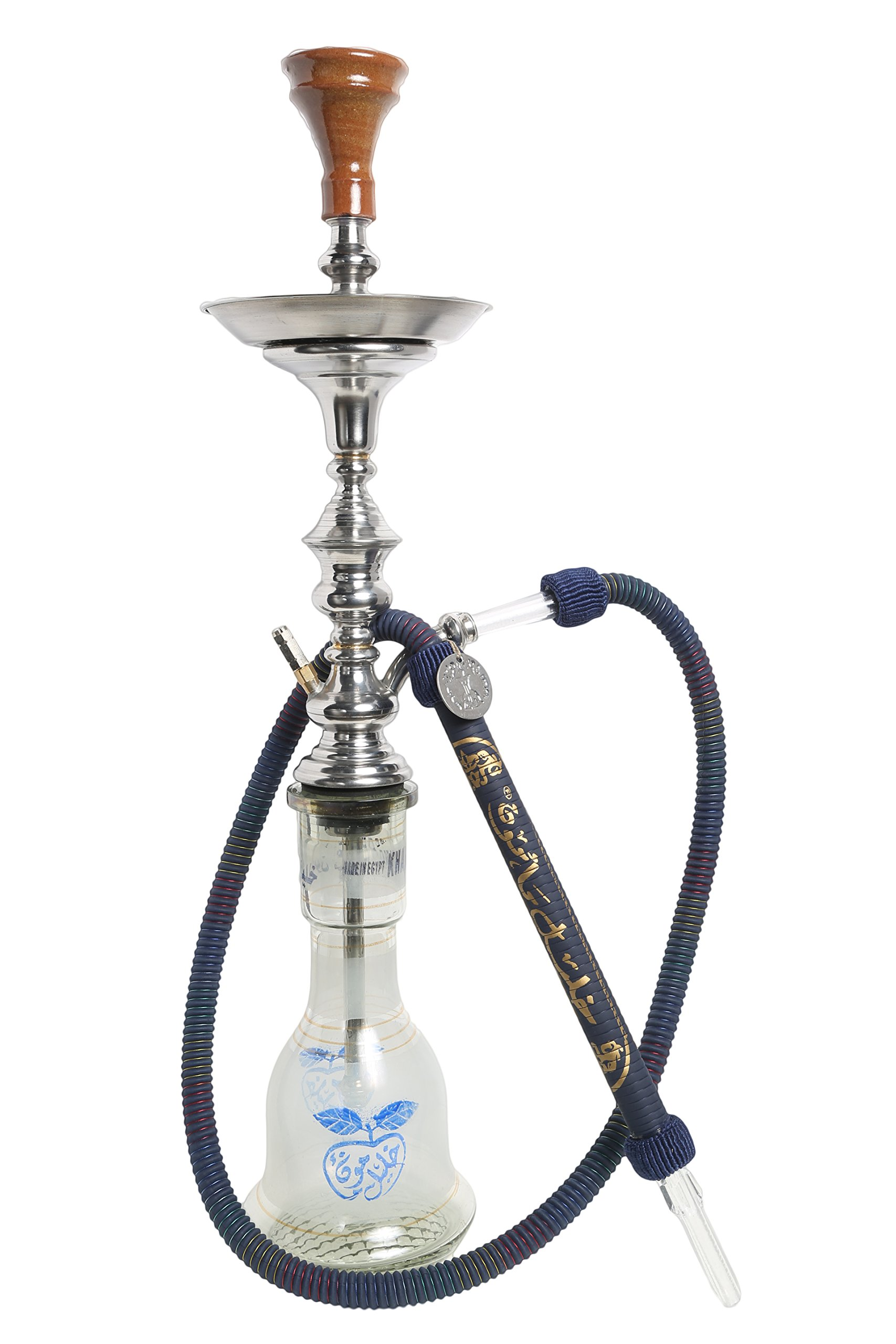 Authentic 32'' Handmade Traditional Style Egyptian Khalil Mamoon Shareef Narguile Apple Vase Hookah (Blue)