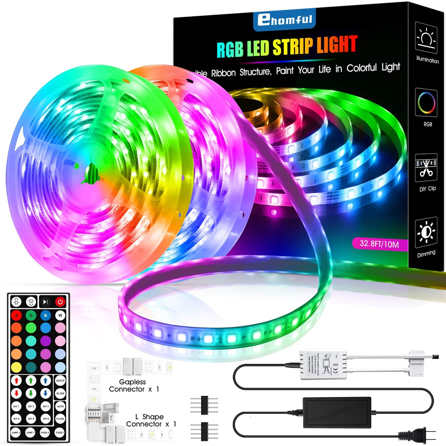 Amazon Com Led Strip Lights 32 8 Feet Ehomful Color Changing 44 Keys Remote Control Led Lights For Bedroom Room Kitchen And Party Decorations Home Improvement