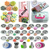 51Pcs Russian Piping Tips Set with Storage Case- 21 Numbered,Easy to Use Russian Nozzles,Pattern Chart,E.Book User Guide,2 Leaf & 1 Ball Tip,2 Couplers,25 Bags.Cake cupcake decorating Kit supplies
