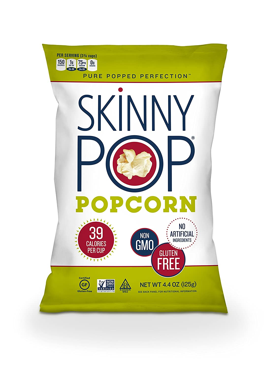 SkinnyPop Popped Original Popcorn, Individual Bags, Healthy Snacks, 4.4oz (Single Bag)