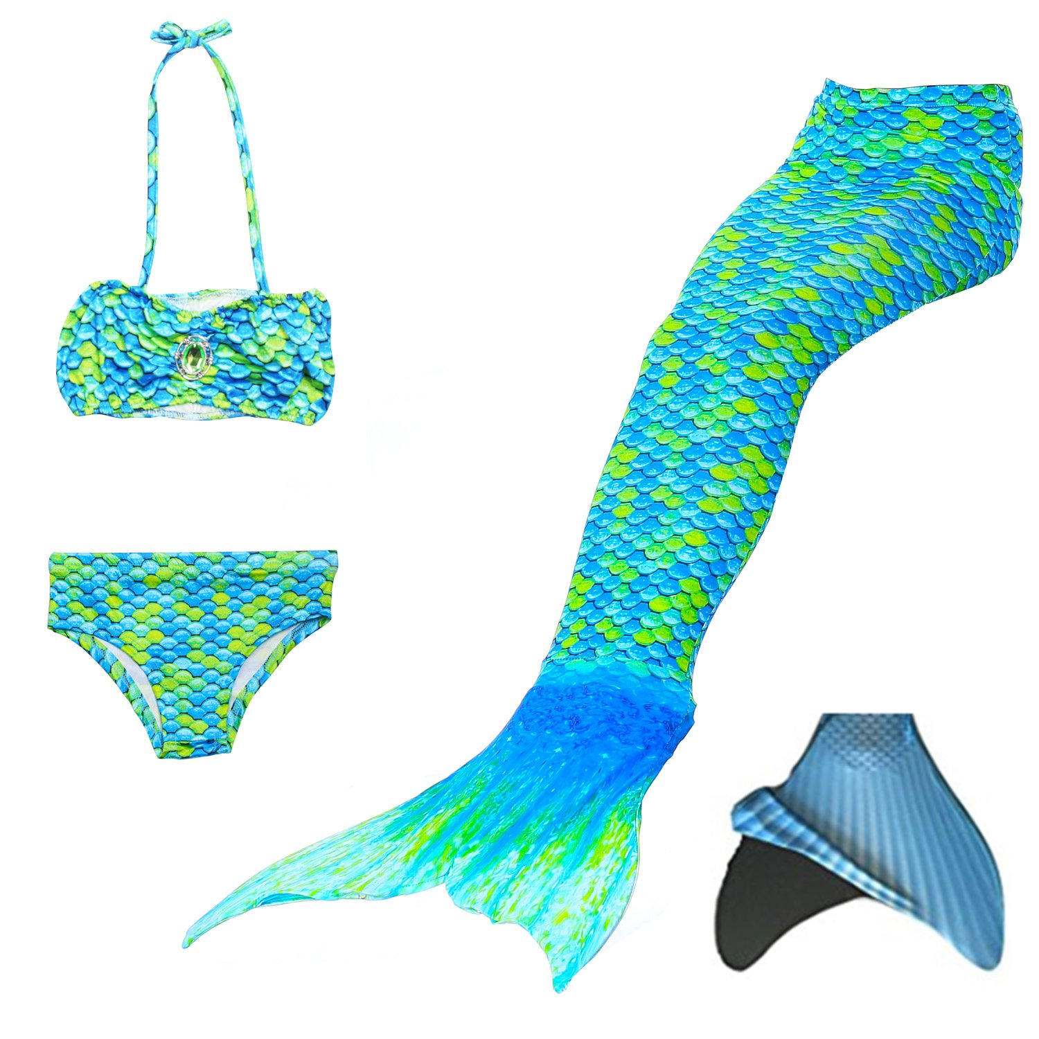 loenzo otiz Girl Very Nice Mermaid Swimsuit Mermaid Tail for Swimming and Fins Set 4PCS