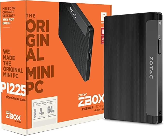 Amazon.com: ZOTAC ZBOX pico PI225-GK Mini PC Fanless Passively Cooled, Intel Gemini Lake N4000, 4GB DDR4 Memory, 64GB Storage, Windows 10 Pro, ZBOX-PI225-GK-W2C: Computers & Accessories