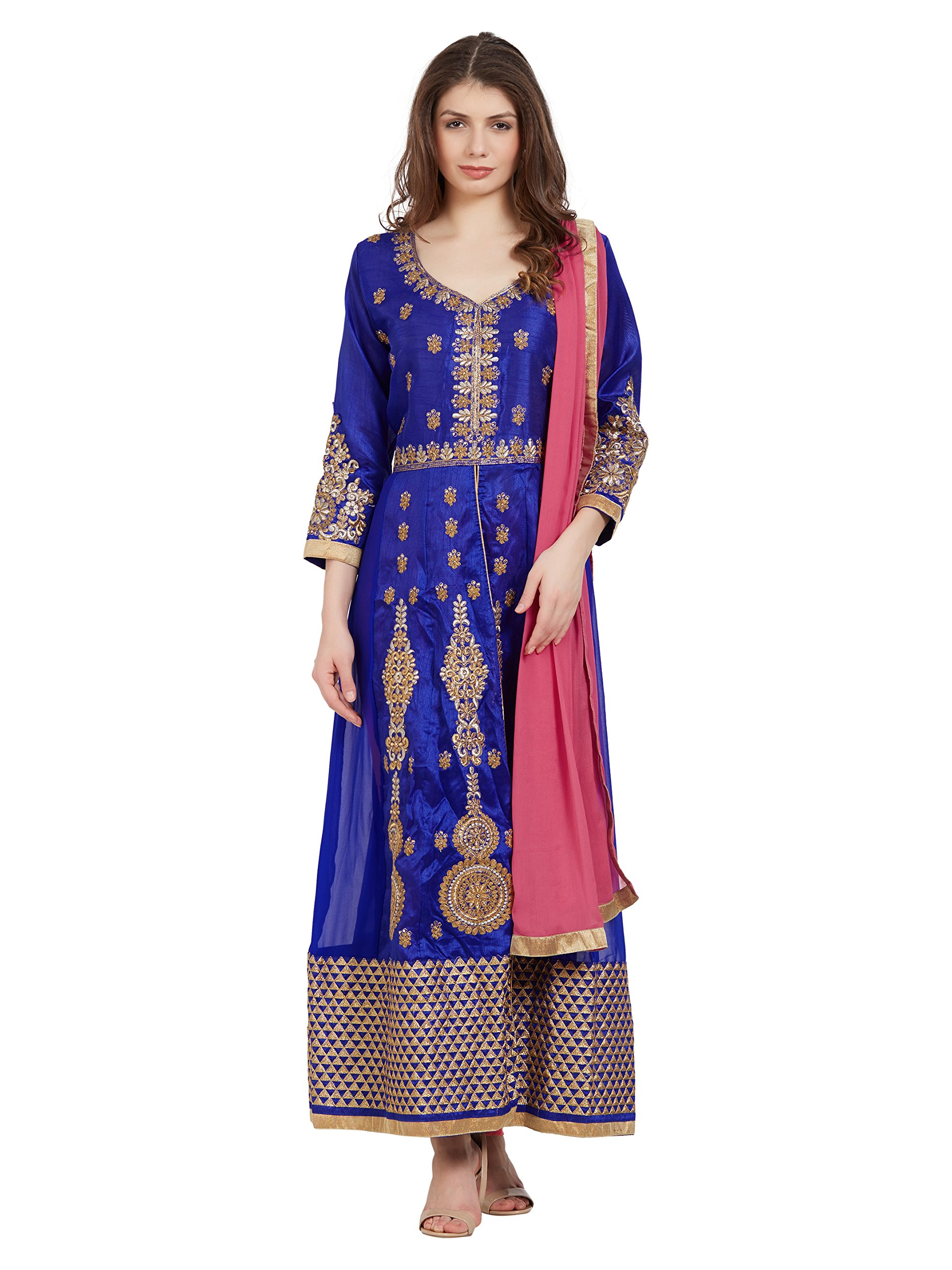 Sourbh Women's Blue Faux Georgette Embroidered Semi-Stitched Partywear Dress Material