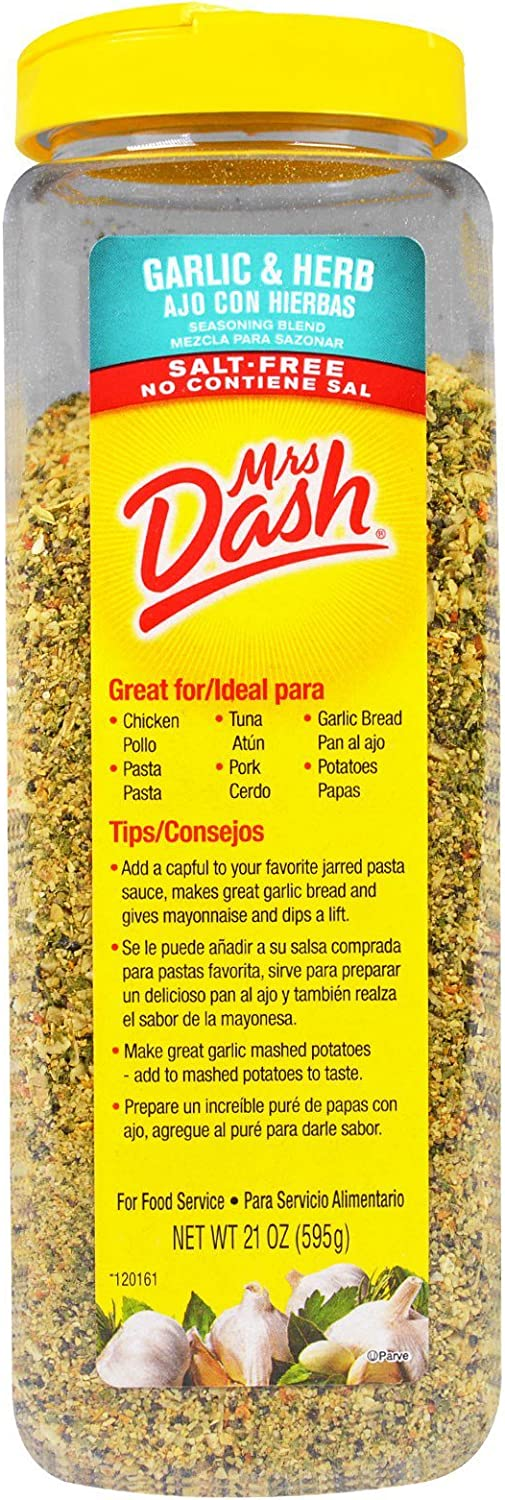 Mrs Dash Saltless Seasoning Blend Garlic and Herb No Salt 21 Ounce