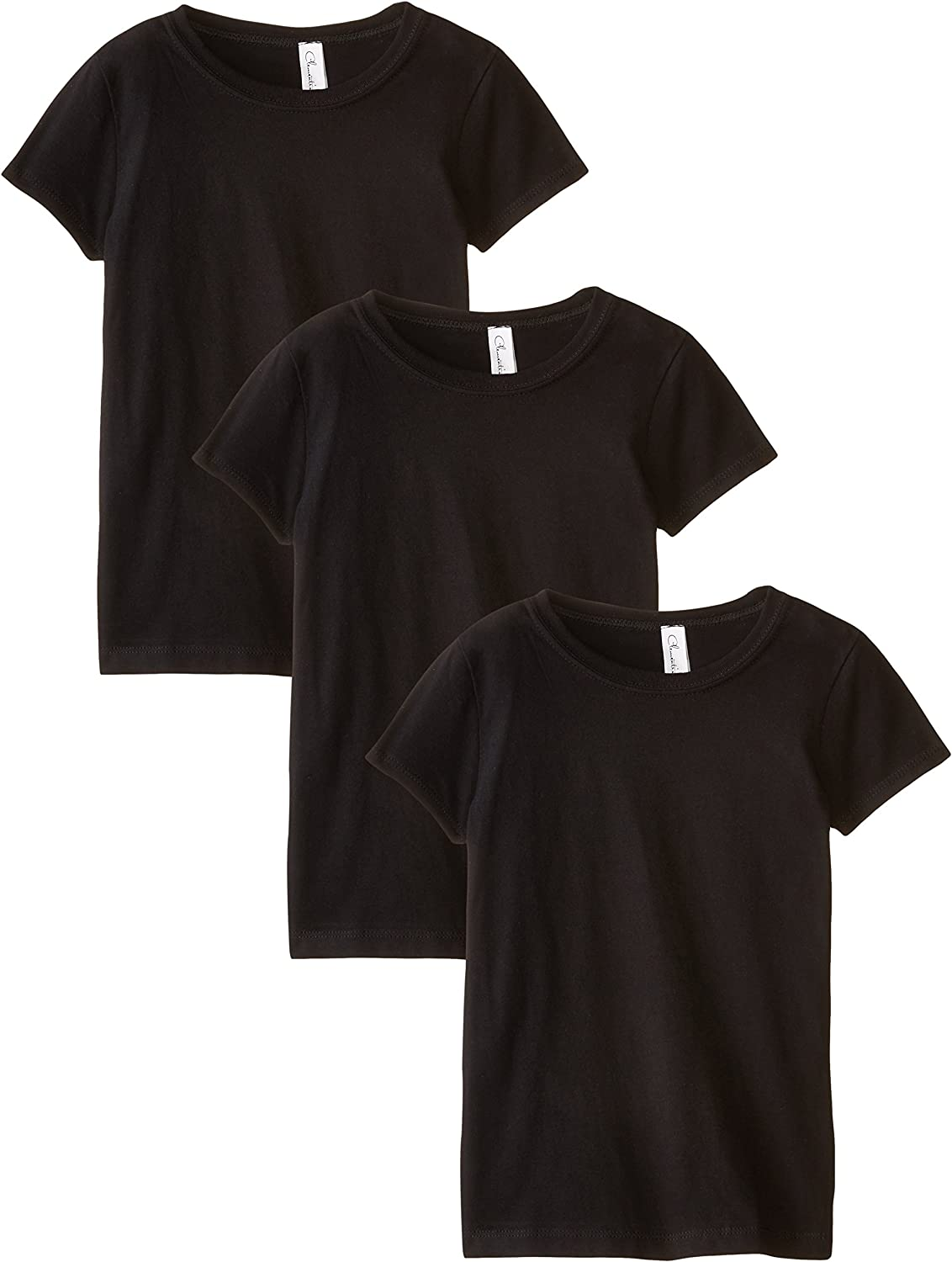 3710 Clementine Apparel Girls 3 Pack Short Sleeve T Shirts Easy Tag Comfort Crew Neck Soft 100/% Cotton Undershirt Tees