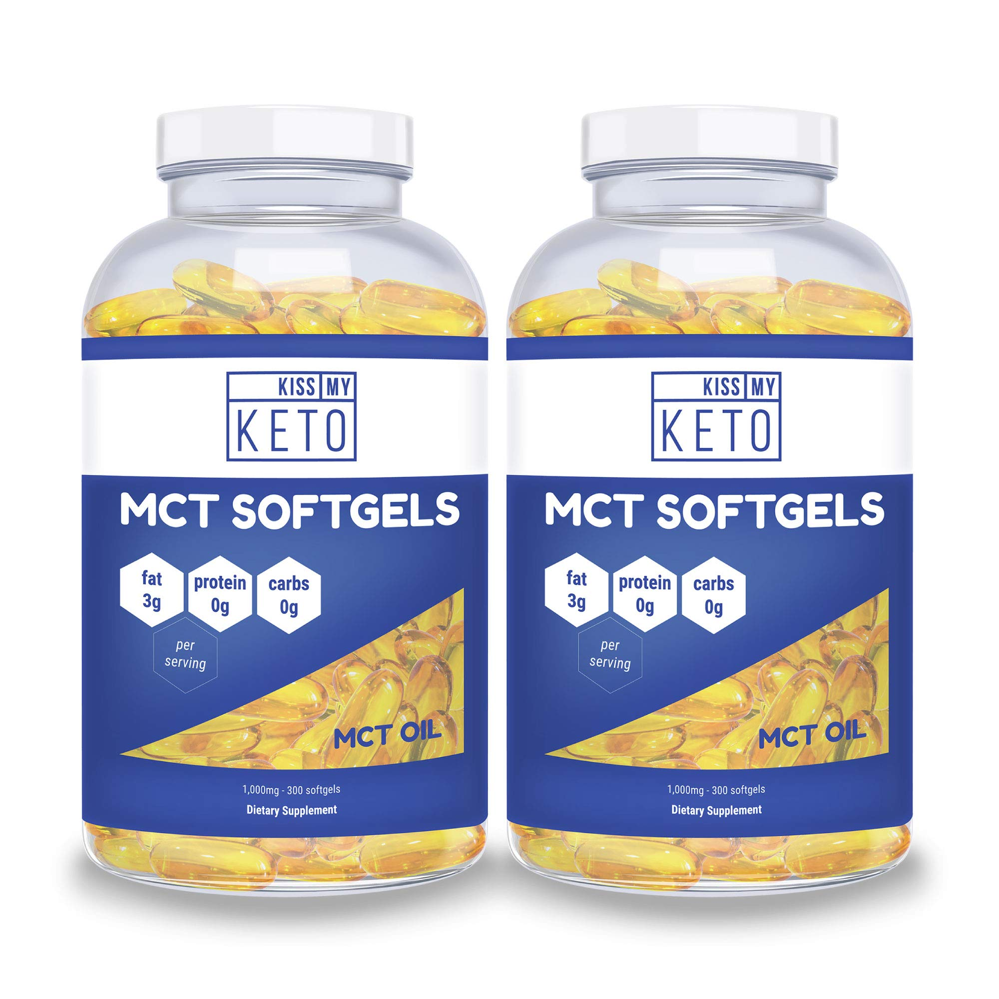 Kiss My Keto MCT Oil Capsules - Coconut Oil Softgel Pills, 300 Count, MCT Pills, Best MCT Oil Keto Ketogenic Diet. Caprylic Acid C8 & C10 Medium Chain Triglycerides Diet Keto Supplement (2 Pack) by Kiss My Keto