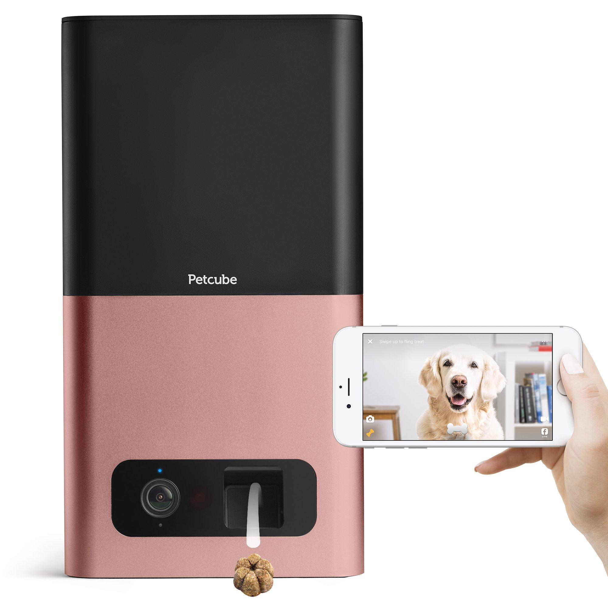 Petcube Bites Wi-Fi Pet Camera with Treat Dispenser: 2-Way Audio, HD 1080p Video and Night Vision, for dogs and cats. Compatible with Amazon Alexa (As seen on Ellen)