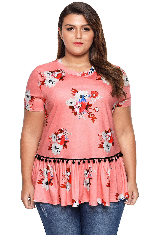 Nuevo tamaño grande rosa floral estampado manga corta blusa camiseta ...