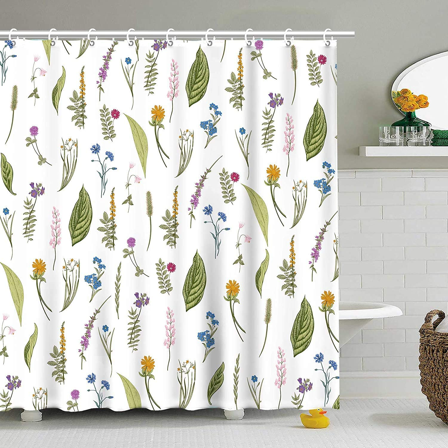Stacy Fay Shower Curtain Green Leaves Floral Flower Plants White Bathroom Set Decor Polyester Waterproof 72x72 Inch Plastic Hooks 12 Pack
