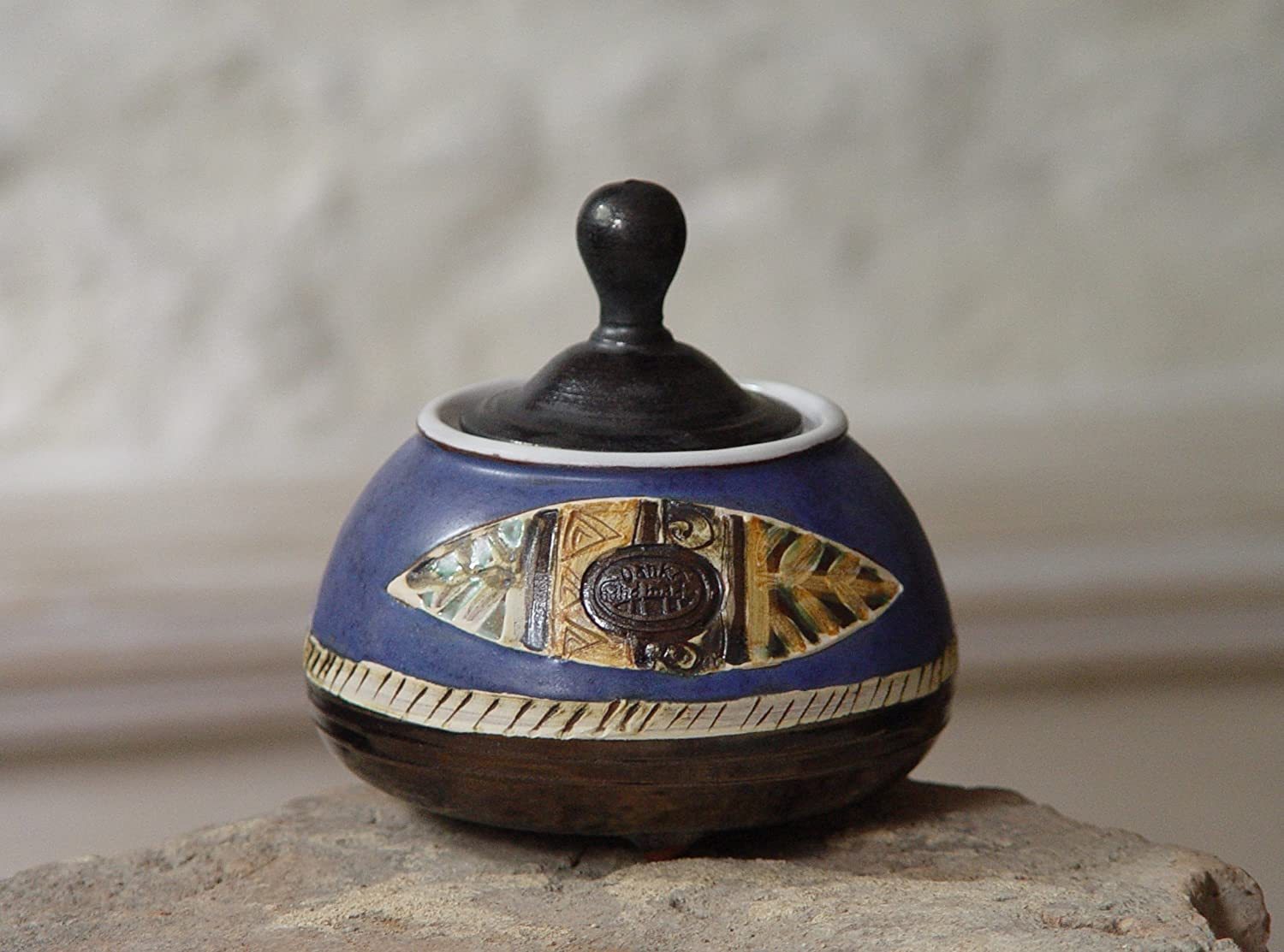 Blue Pottery Sugar Bowl - Handmade Ceramic Honey Jar - Covered Sugar Box - Tea Set Sugar Canister - Sugar Keeper - Colorful Countertop Decor