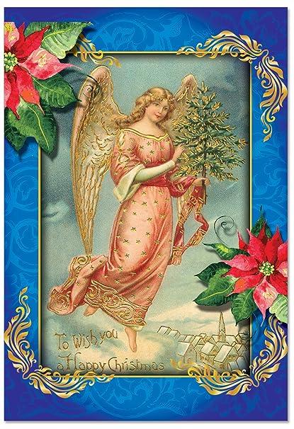 Angels Christmas Cards.B1747axsg Box Set Of 12 Christmas Angels Christmas Greeting Cards With Envelopes