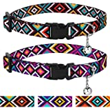 CollarDirect Aztec Cat Collar Breakaway Pack of 2 PCS Nylon Tribal Pattern Geometric Pet Kitten Collars for Cats (Ethnic Teal + Tribal Magenta)
