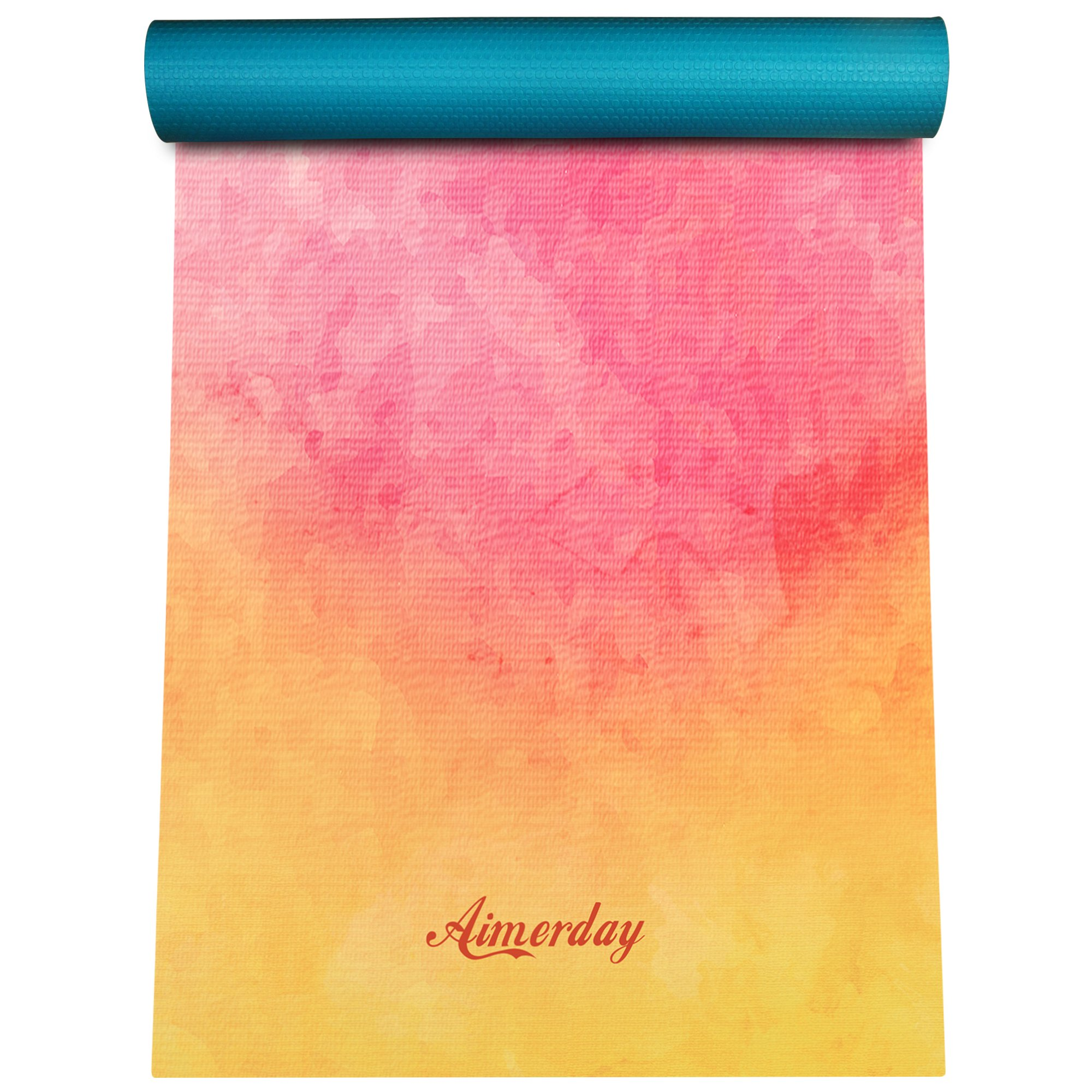 AIMERDAY Premium Print Yoga Mat Extra Thick 1/4'' Non Slip Eco Friendly High Density Anti-Tear 72 x 24 Inch Fitness Exercise Mat Floor Pilates Workout Mat for Yoga with Carrying Strap & Bag 6mm