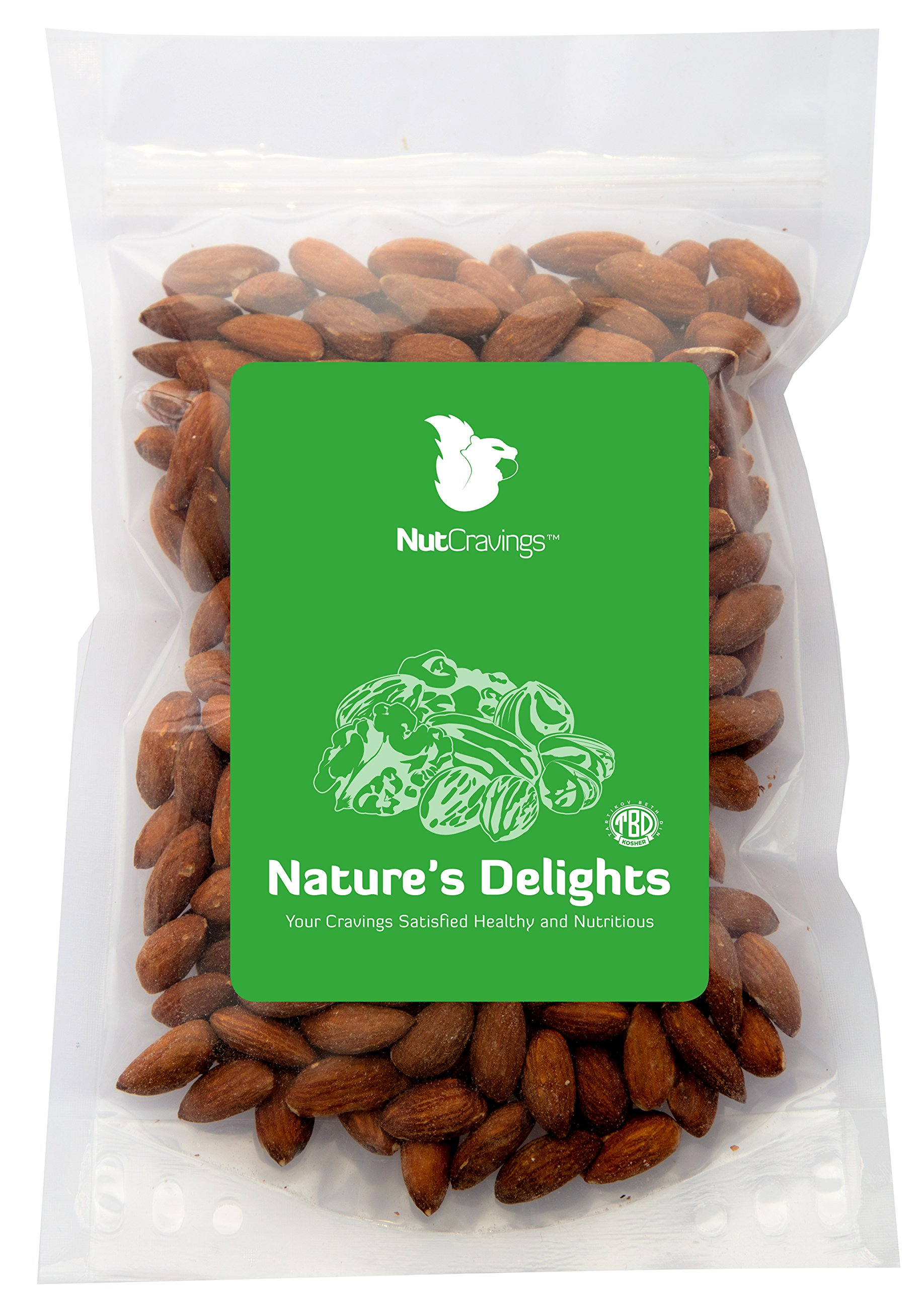 Nut Cravings Whole Almonds – 100% All Natural Shelled, Roasted & Salted Nuts – 1LB