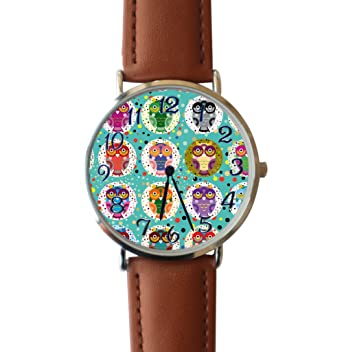 419a7d96f665 ERT8OII Reloj de Búho Festivo Personalizado Números Romanos Reloj de Cuarzo  Ordinario