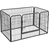Songmics Recinto Recinzione per cani cuccioli roditori animali rete gabbia di Ferro grigio 4pz 122 x 80 x 70 cm PPK74G