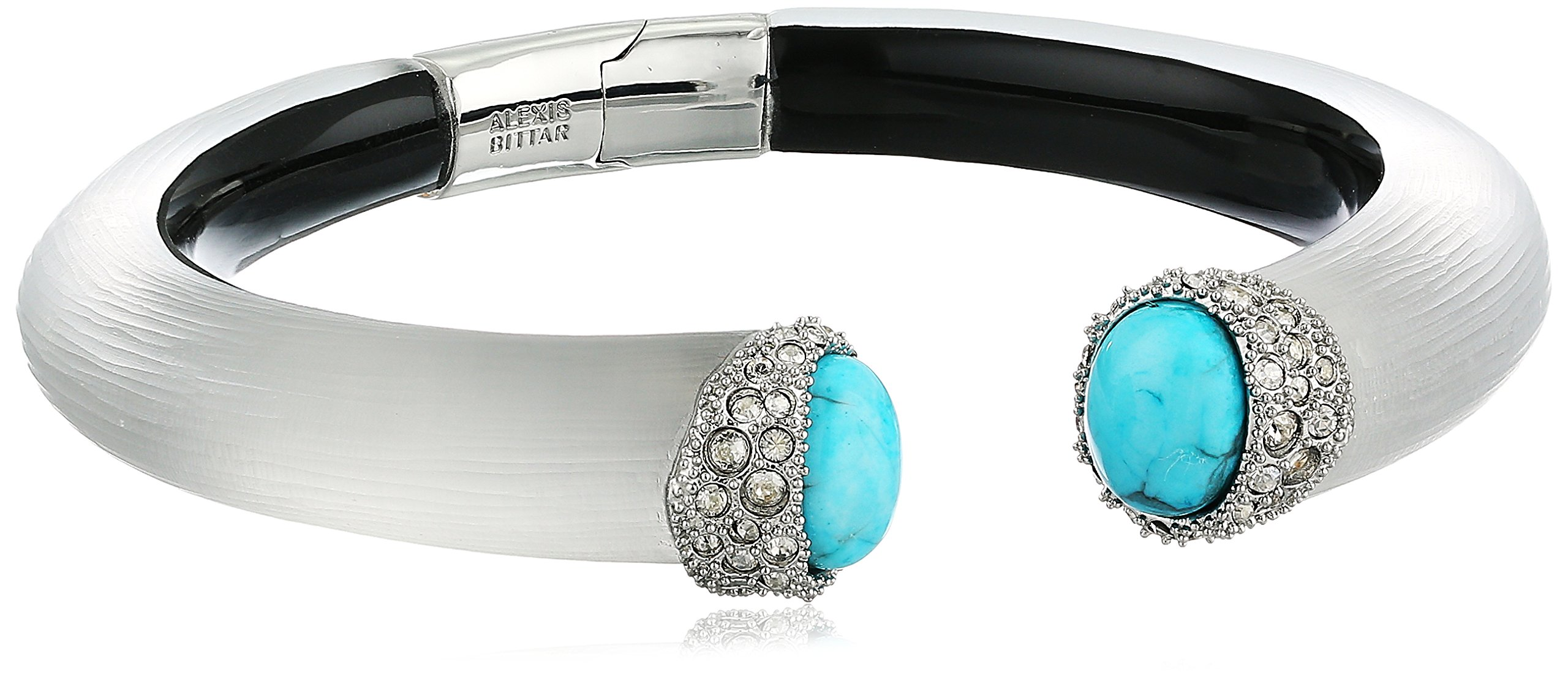 Alexis Bittar Encrusted Double Turquoise Small Brake Hinge Grey Cuff Bracelet