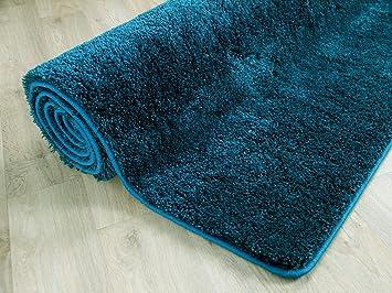 Palace Hochflor Shaggy Teppich Petrol Grün Blau in 24 Größen: Amazon ...