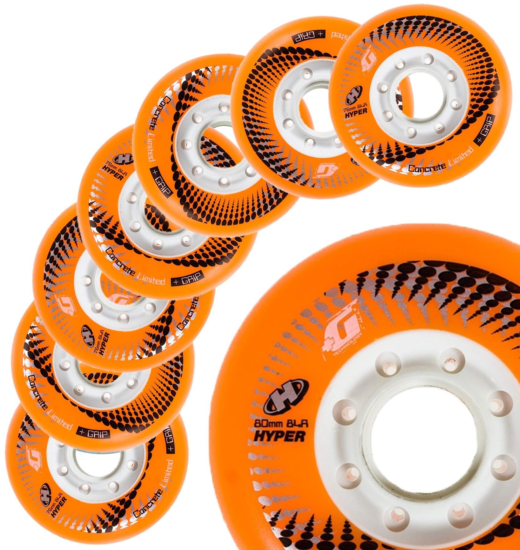 Inline Skate Wheels Hyper Concrete +G - 8 Wheels - 84A - Sizes: 72MM, 76MM, 80MM - Freeride, Slalom, Fitness, Urban - Colors: White, Black, Orange, Green, Cyan, Red (Orange, 80MM) by Hyper Wheels