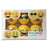 Novelty Smiley Face Golf Balls 2 Ply Professional Practice Golf Balls, 6 Balls