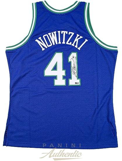 74af298821b Amazon.com  DIRK NOWITZKI Autographed Mavericks Throwback Jersey PANINI  Sports  Collectibles