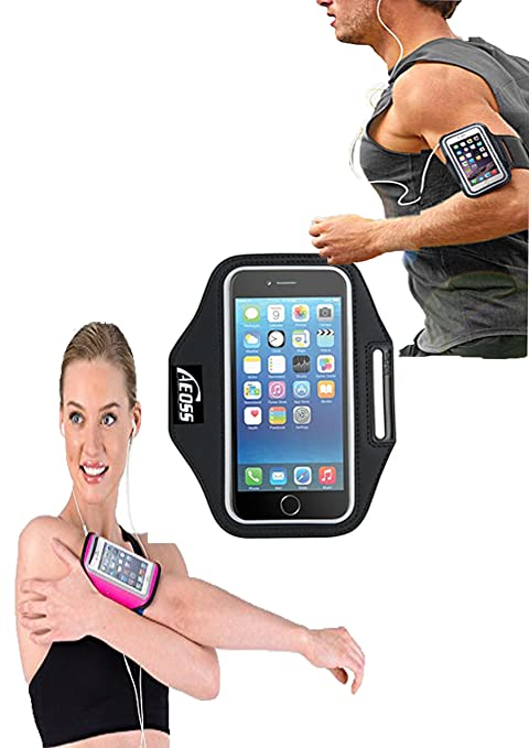 Aeoss Sports Running Jogging Gym Armband Case Cover Holder till 5.5 to 6.12 inches Compatible with Poco f1 (Black)