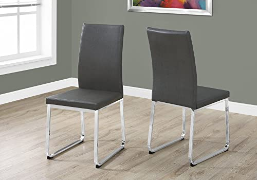 Monarch Specialties Grey Leather-Look/Chrome Dining Chair 2 Piece