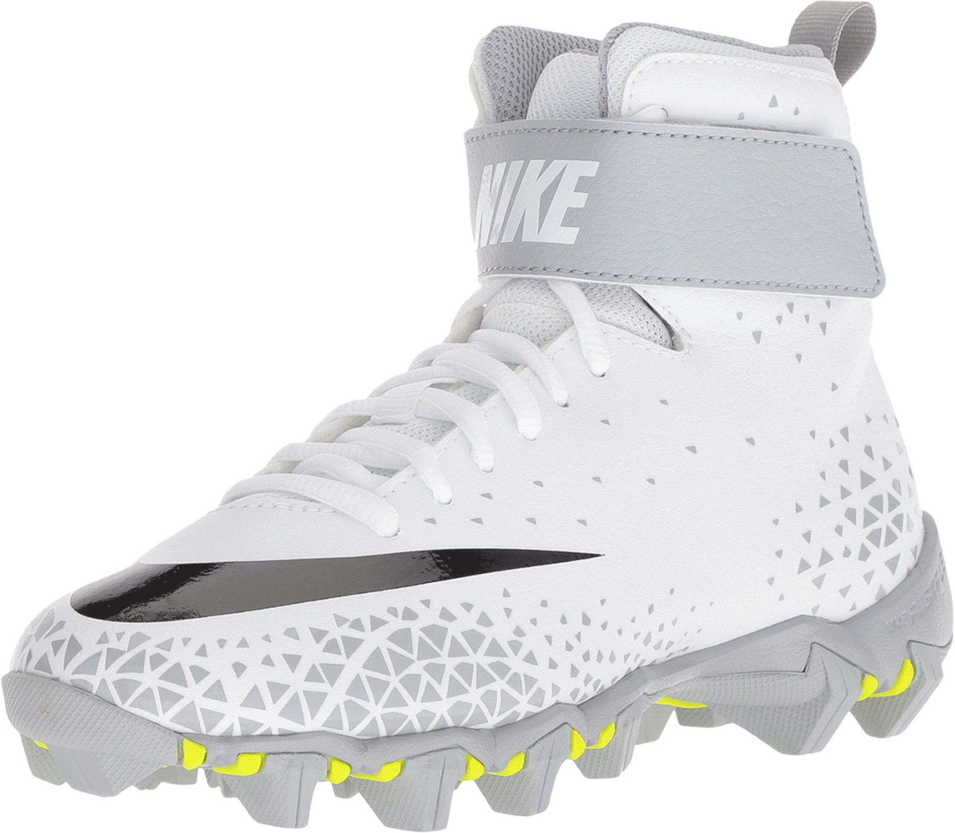 Nike Grade School Force Savage Shark Football Cleats (3Y, White/Black/Wolf Grey)