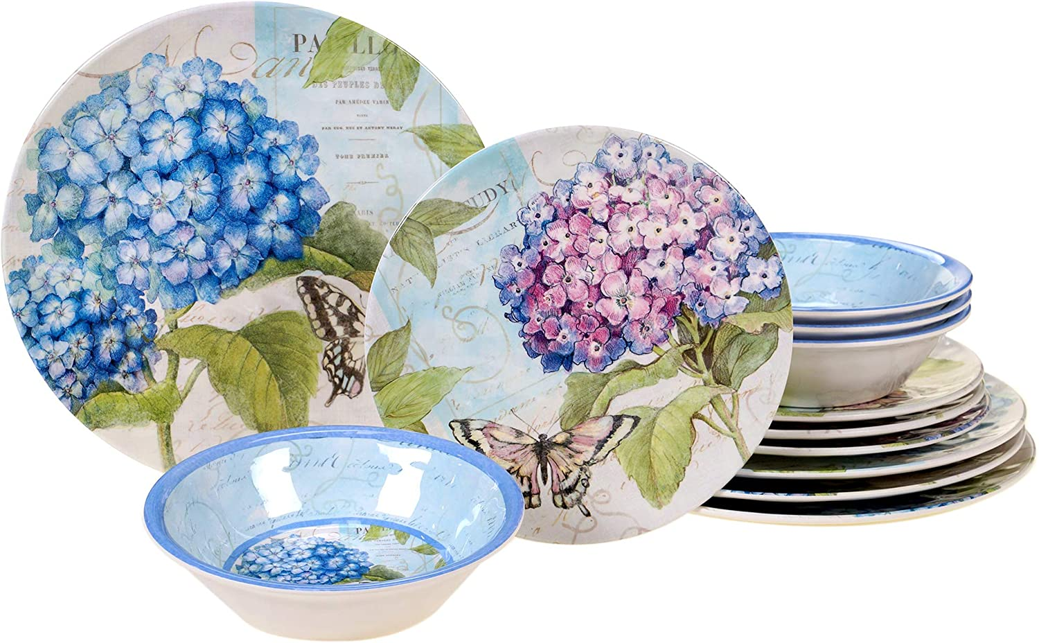 Certified International 89527 Hydrangea Garden Dinnerware, Dishes, Multicolor