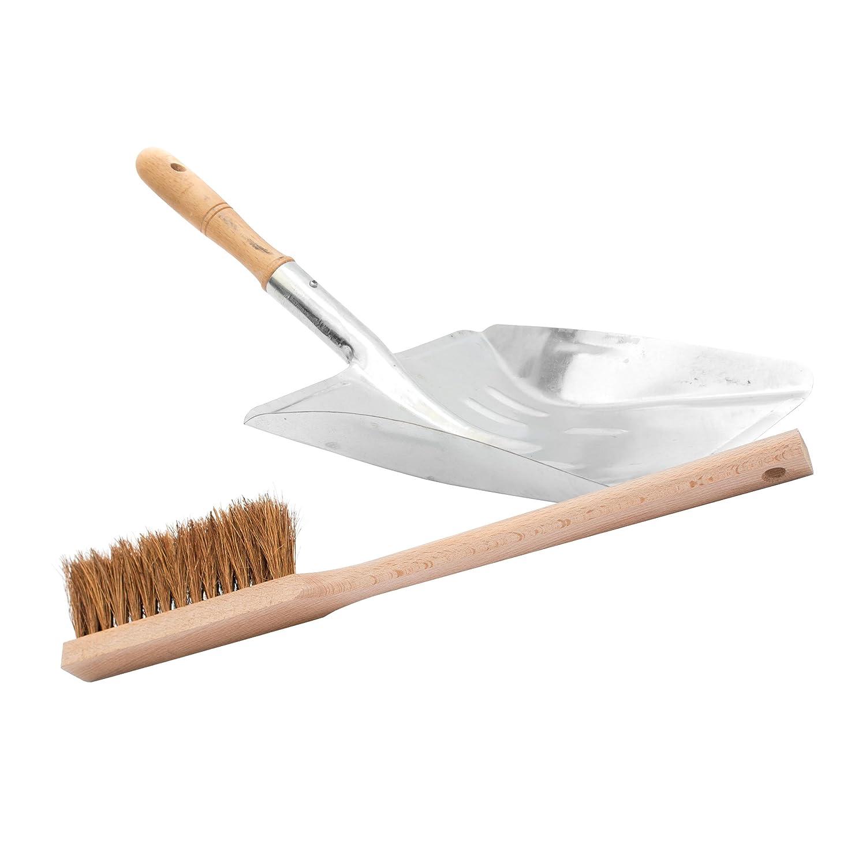 Lantelme 3160 2 teiliges in metallo zincato con scopino pala legno, robusta pala e scopa a mano di produzione tedesca