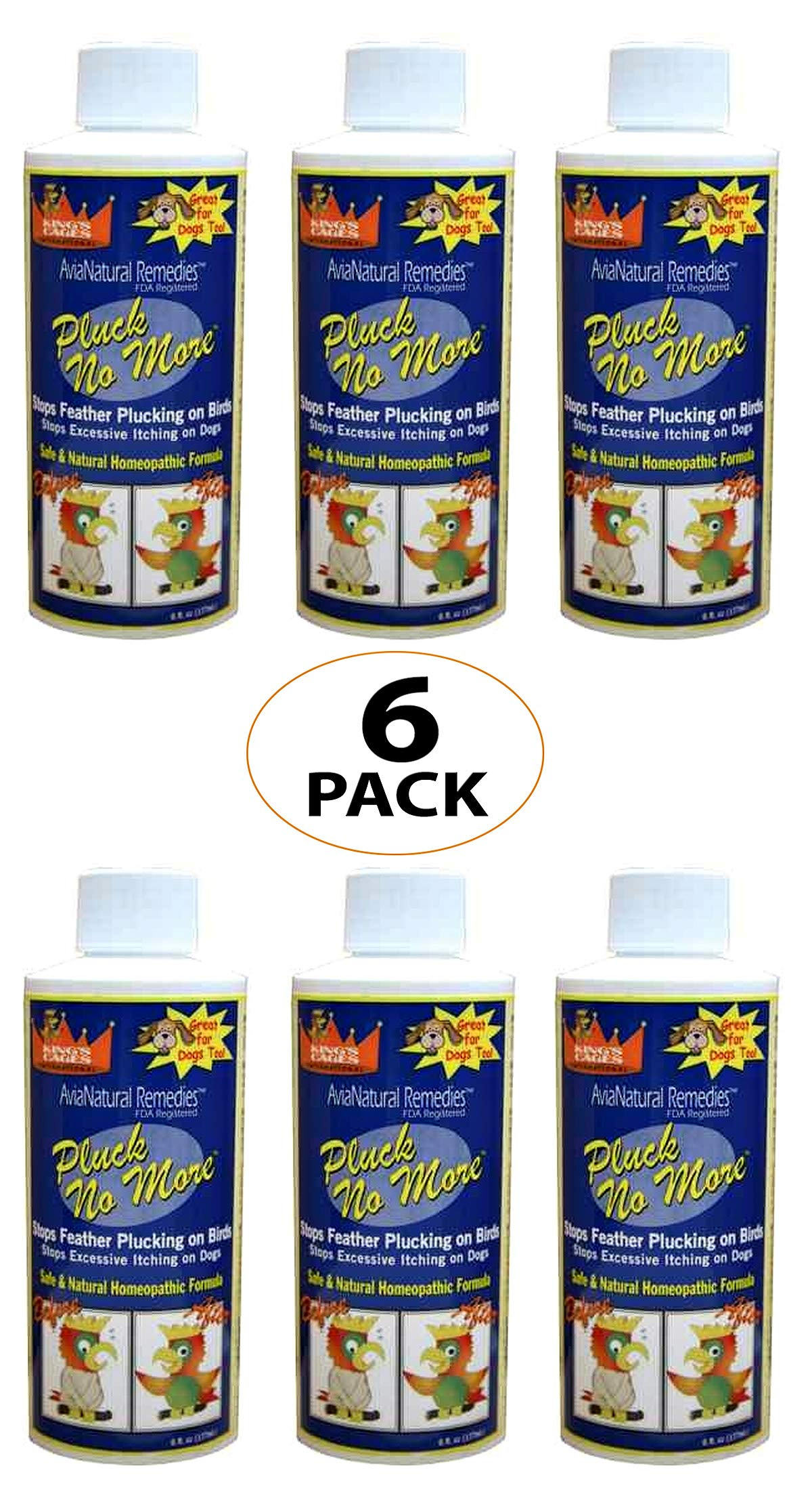 King's Cages LOT 6 Pluck NO More Parrot Bird cage Toy Toys Calming homeopathic Natural 6oz by King's Cages