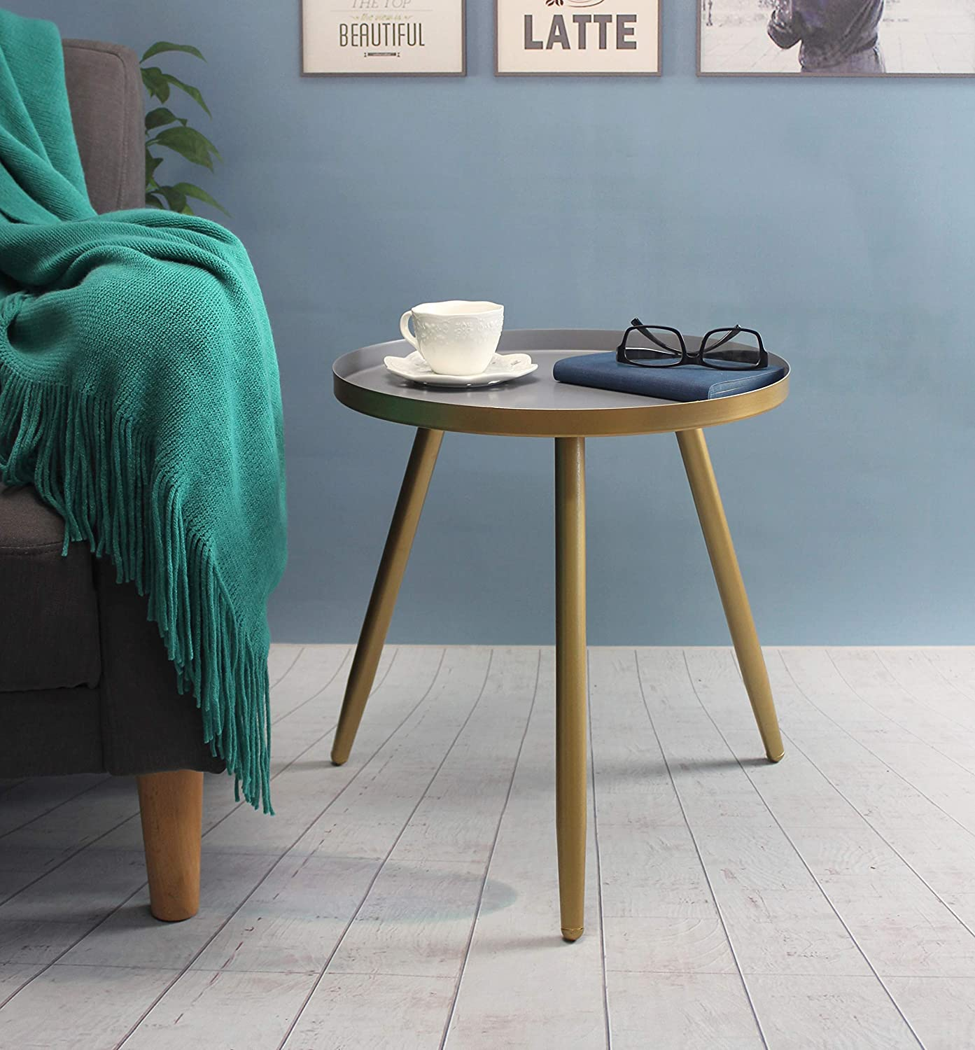 Amazon.com: Round Side Table, Metal End Table, Nightstand/Small ...