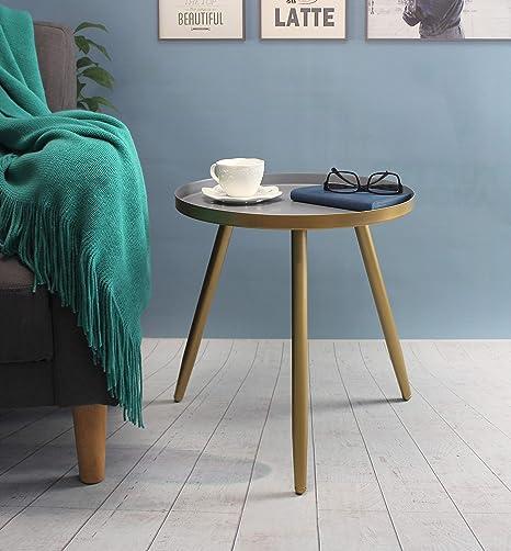 Aojezor mesa auxiliar redonda, mesa de sofá, mesita de noche ...