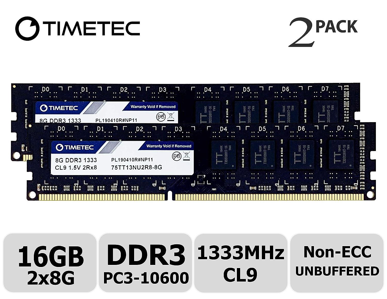 Timetec 8GB DDR3 1333MHz PC3-10600 Non-ECC 1.5V 2Rx8 UDIMM Desktop Memory RAM