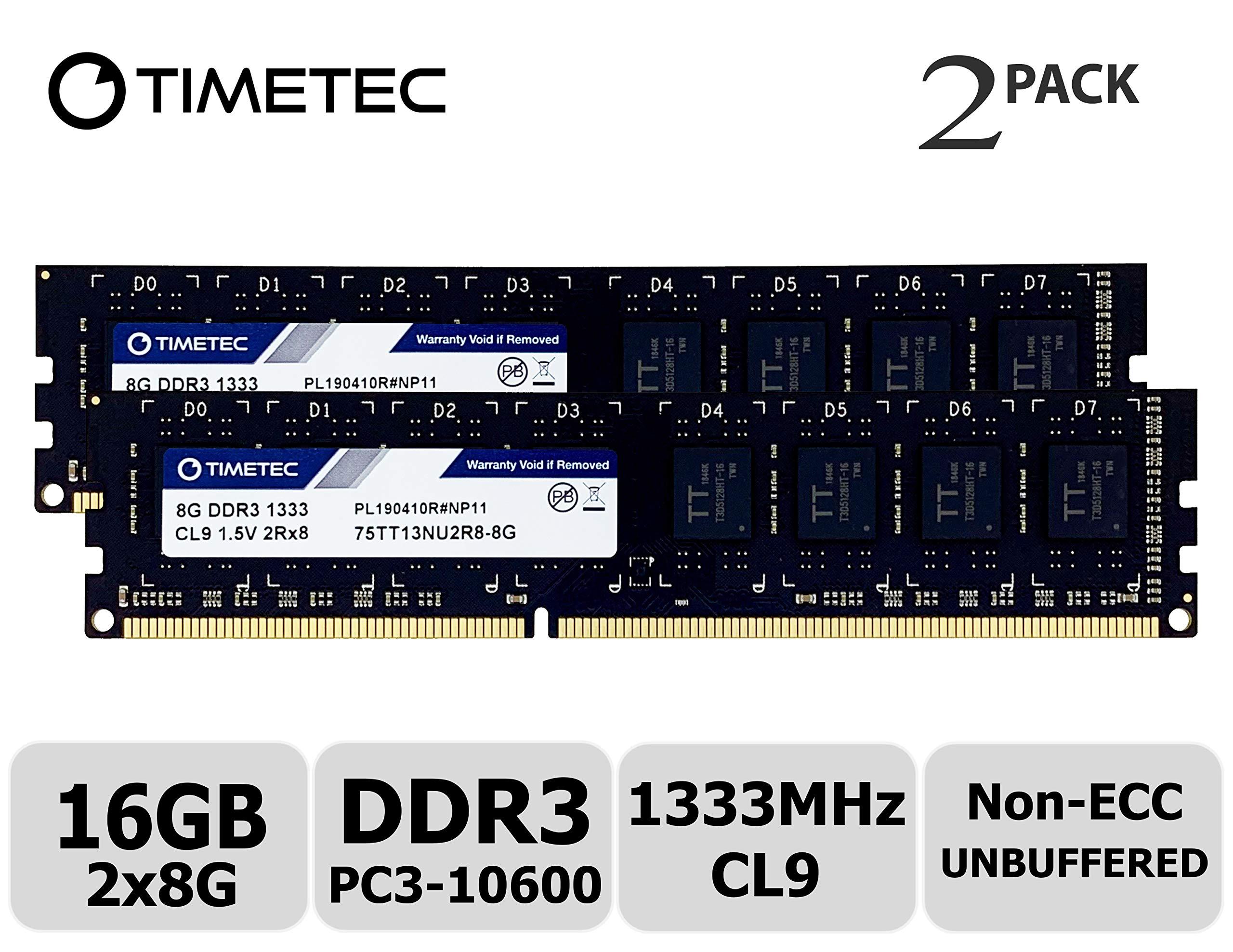 Memoria Ram 16gb Timetec Hynix Ic Kit (2x8gb) Ddr3 1333mhz Pc3-10600 Unbuffered Non-ecc 1.5v Cl9 2rx8 Dual Rank 240 Pin