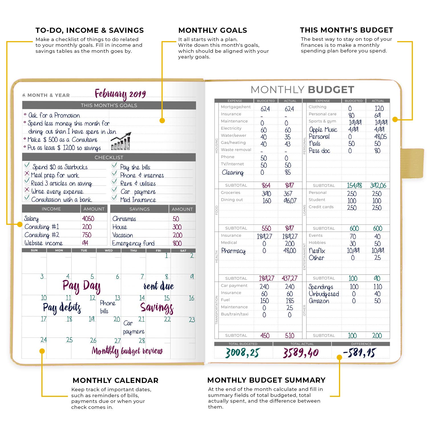 Expense Tracker Notebook Clever Fox Budget Planner Peach Pink Hardcover Undated Finance Planner /& Accounts Book to Take Control of Your Money Start Anytime Monthly Budgeting Journal A5 Size