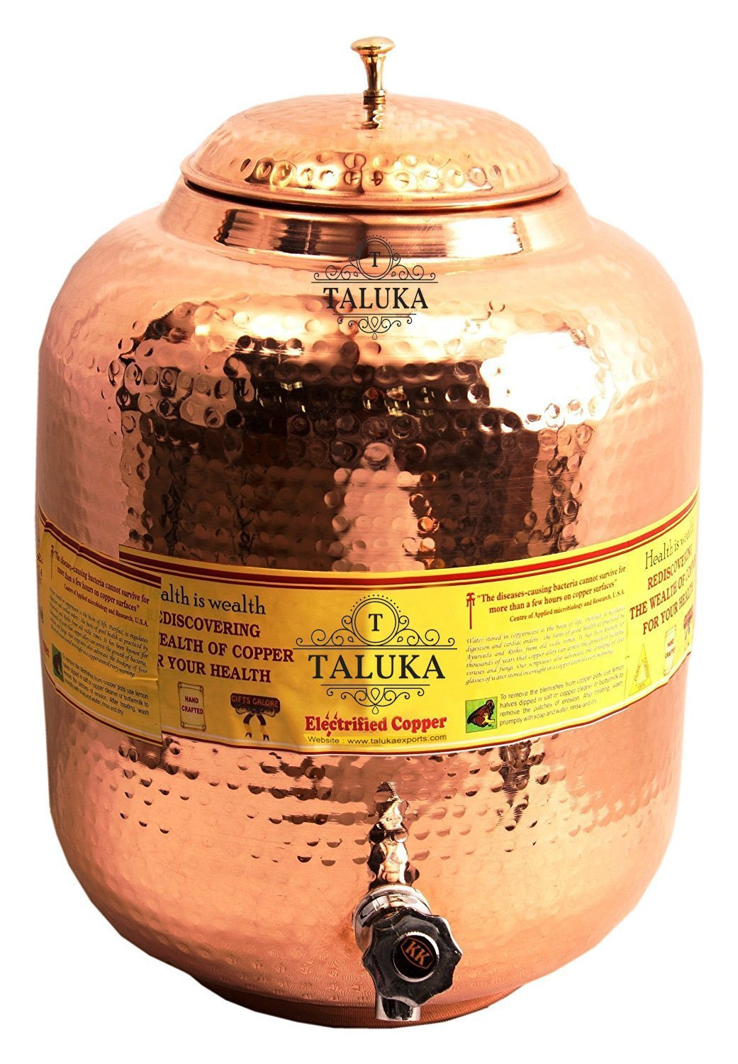 Taluka 13.5 X 5.7''Inches Handmade Hammered Pure Copper Water Pot Tank with Tap   338.1 Oz Capcity   For water storage in Home Garden Good Health Benefits Yoga