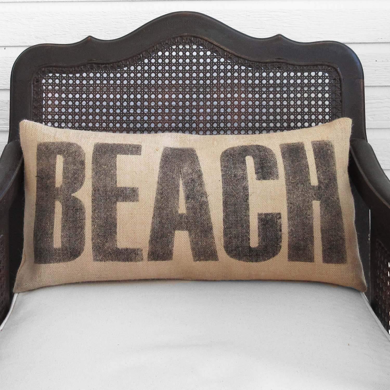 Burlap Pillow Typography Coastal Cottage Decor 12x24 Insert Included Nautical Beach