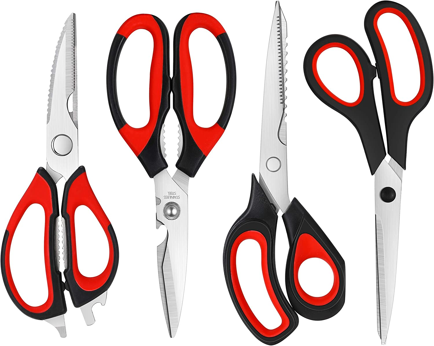 Kitchen Scissors, 4 pack Kitchen Shears,Heavy Duty Dishwasher Safe Food Scissors, Multipurpose Stainless Steel Sharp Cooking Scissors for Kitchen, Chicken, Poultry, Fish, Meat, Herbs (Red and Black)