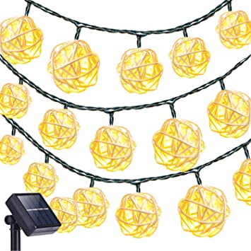Decken- & Wandleuchten Beleuchtung Solar Lichterkette,kingcoo 6m 30led 2 Modus Solarbetrieben Kugel Außenlichter...