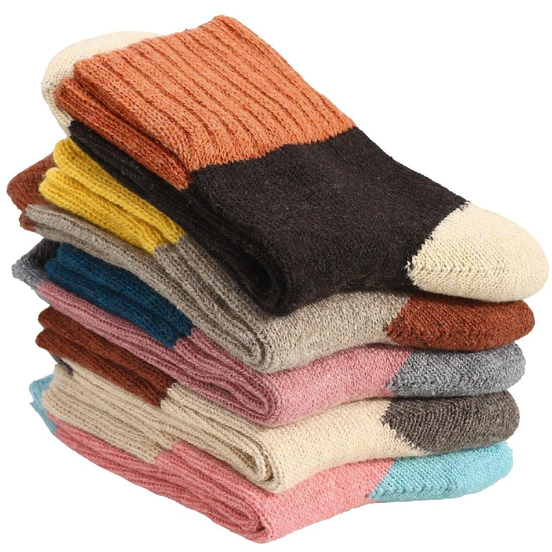 Women Vintage Style Thick Knitting Warm Winter Crew Socks 5 Pairs (Fight color)