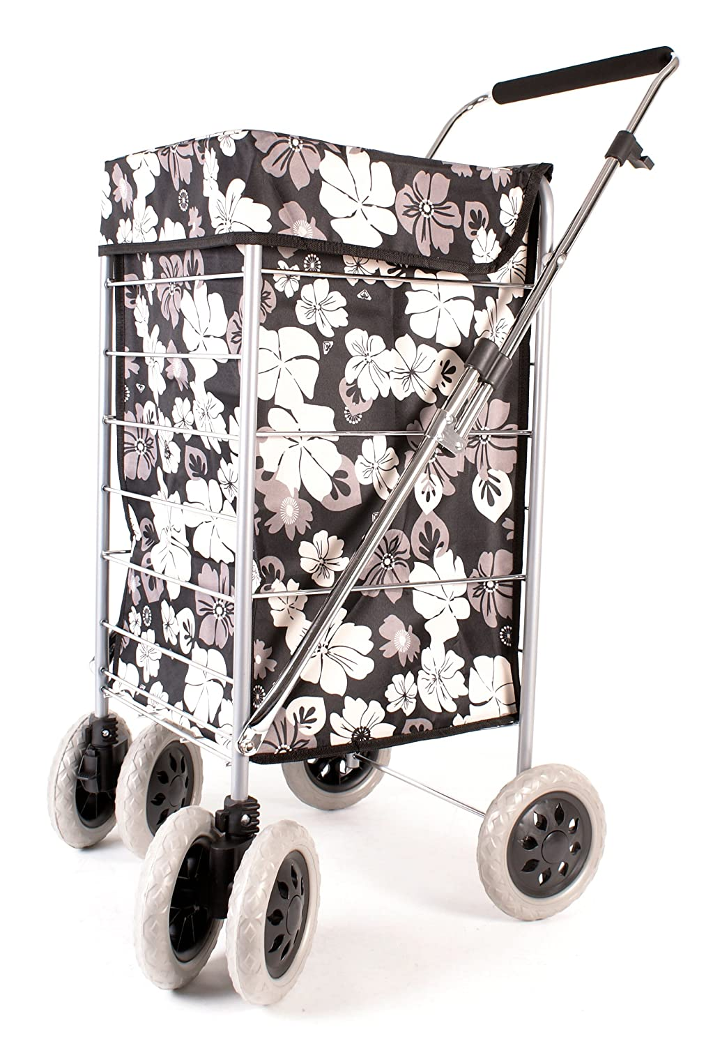 Premium 6 Wheel Swivel Shopping Trolley with Adjustable Handle Black with Grey and White Floral Print ST-SIX-01