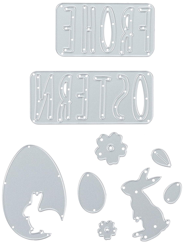 Sizzix Thinlits Stanzschablonen-Frohe Ostern, Stahl, Mehrfarbig, 26 x 13 x 0.2 cm Ellison 662620
