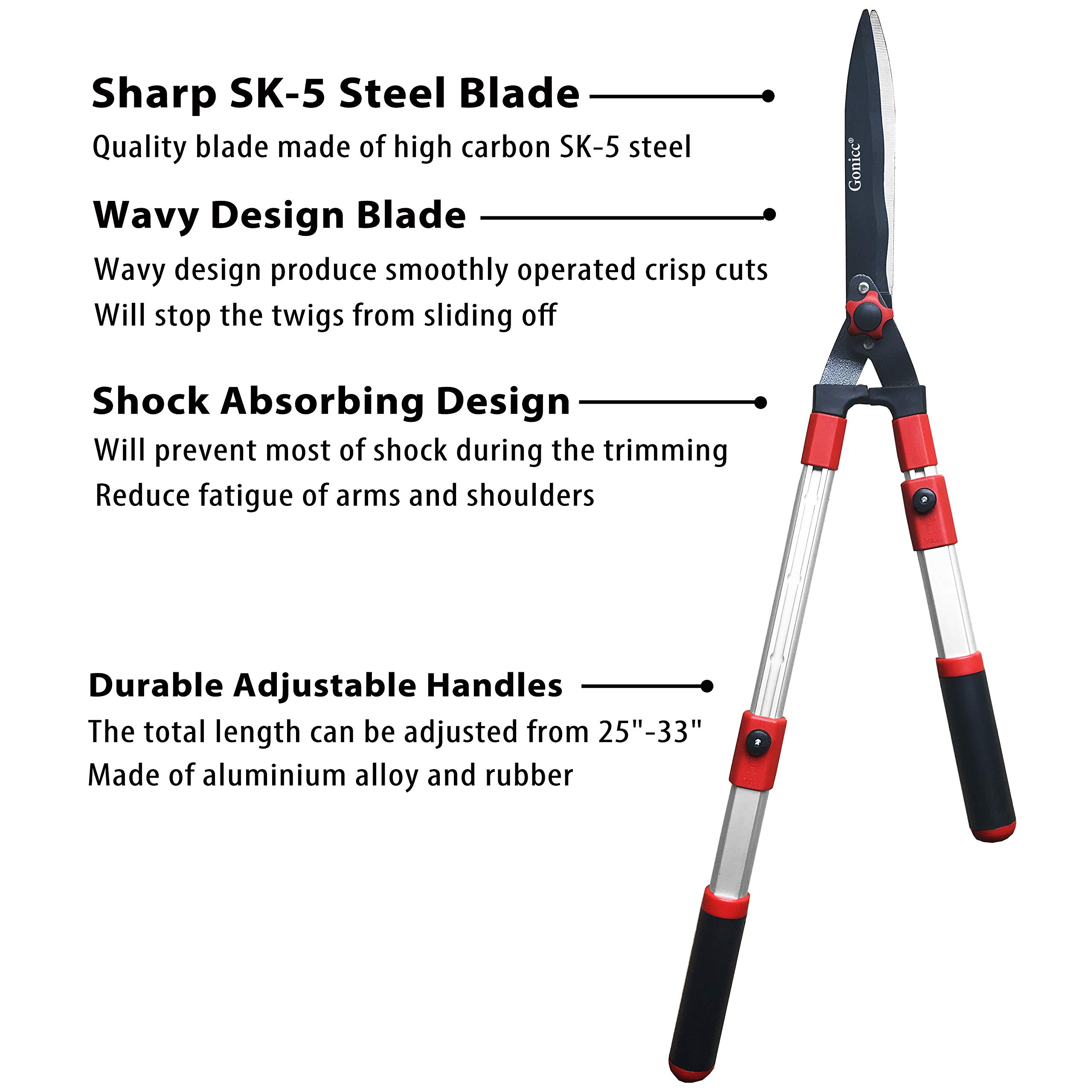 gonicc Professional Adjustable 25''+ 8'' Hedge Shears. with Wavy SK-5 Steel Blade and Shock Absorbing Desig, Adjustable Blade Pressure, Garden Pruning Hand Hedge Trimmers Clippers Shears by gonicc (Image #3)