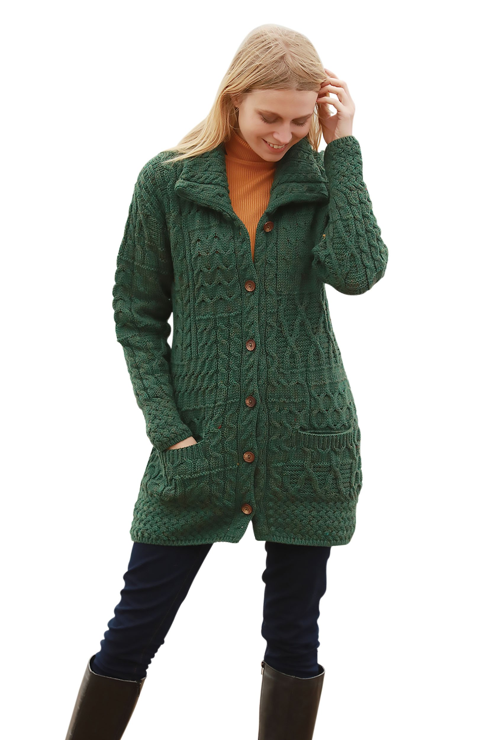 Buttoned Irish Funnel Neck Wool Cardigan (Large, Green)