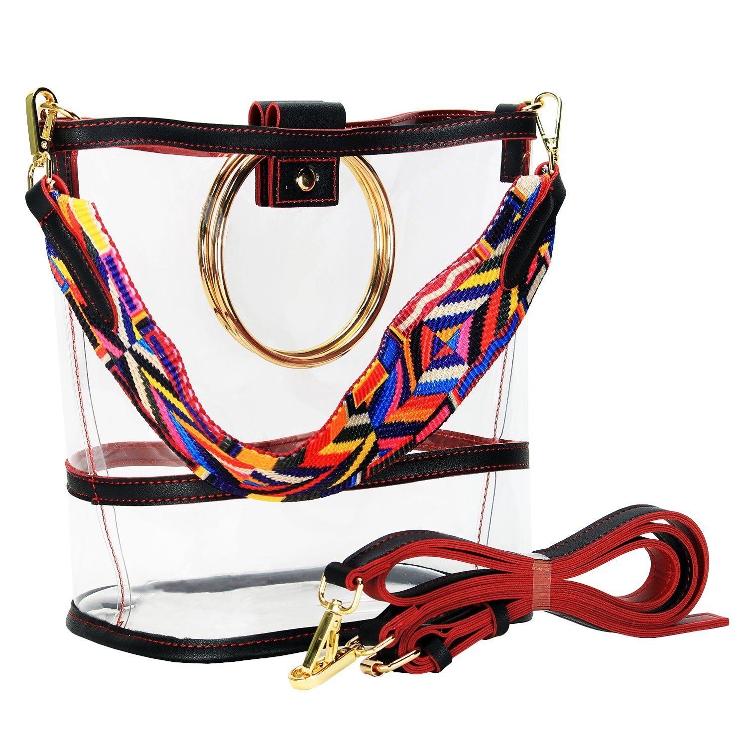 d3f781f3e13 SharPlus Clear PVC Crossbody Shoulder Purse Bag - Sporting Events Stadium  Approved Transparent Plastic Tote Bucket Handbag with Colorful Strap